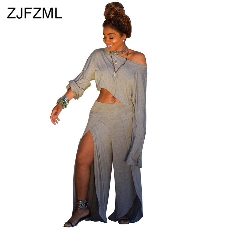 Casual 2 Piece Matching Set Women Clothes One Shoulder Long Sleeve Crop Top+High Split  Wide Leg Pant Tracksuit Two Piece Outfit