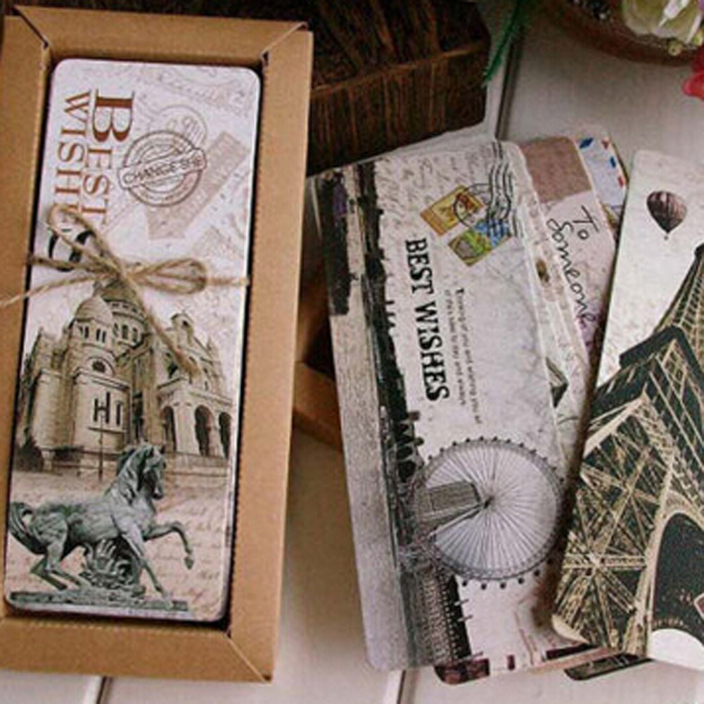 30pcs/set  Different European Scenes Vintage France Paris Eiffel Tower Bookmark Set School Office Escolar Papelaria