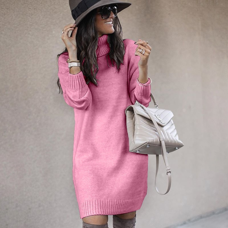 Women's Casual Warm Knitted  Long Sweater Solid Turtleneck Long Sleeve Sweater Dresses Autumn Winter Loose Pullover Dress