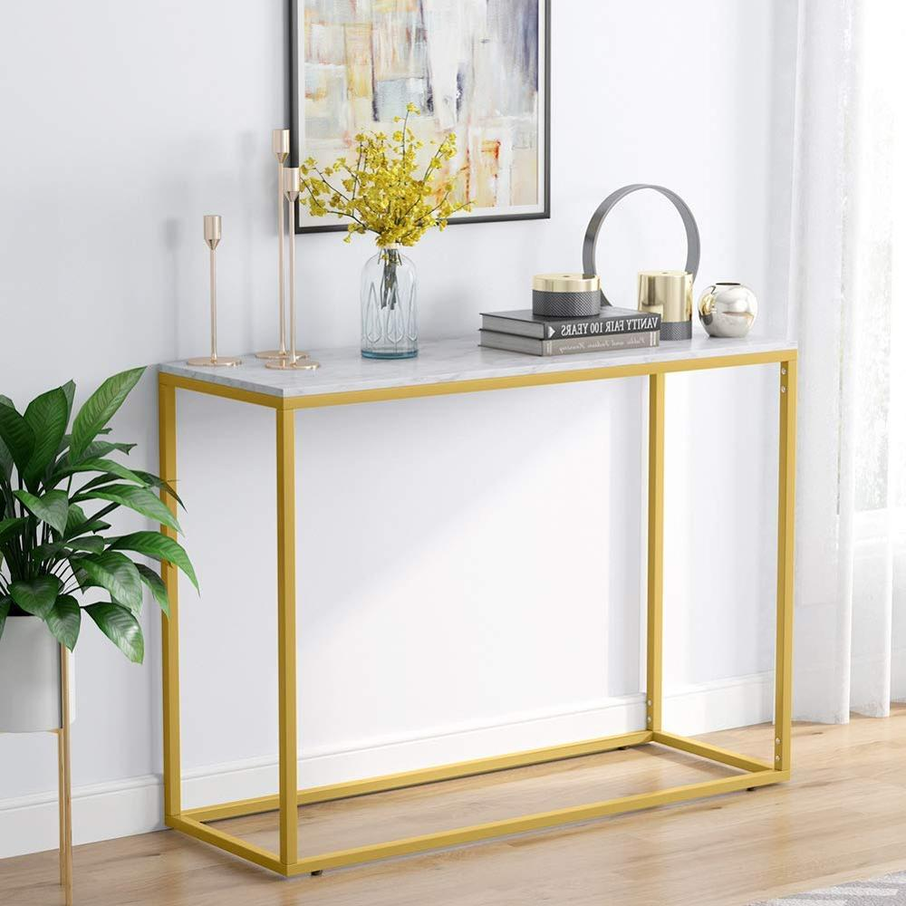 Tribesigns  Console Table Gold Narrow Console Table, Marble Table Top With Gold Metal Frame For Entry Living Room Hall Sofa