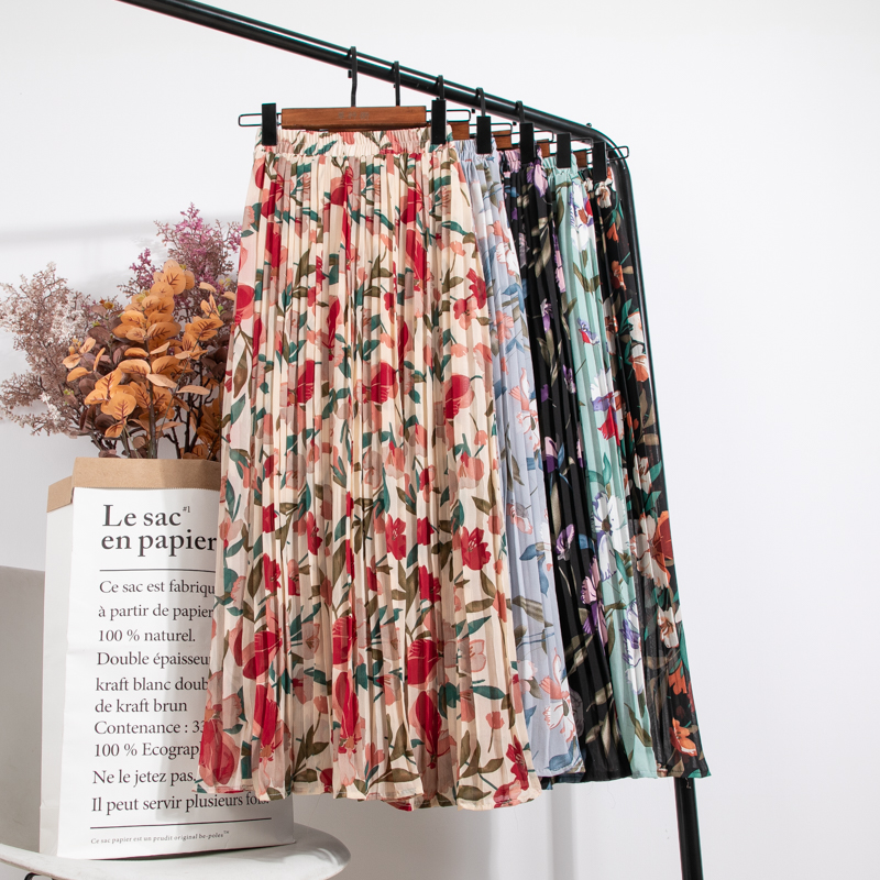 Elegant A- Line High Waist Pleated Skirt Beach Style Floral Print Chiffon Skirt Women's Spring Summer Mid-length Holiday Skirts