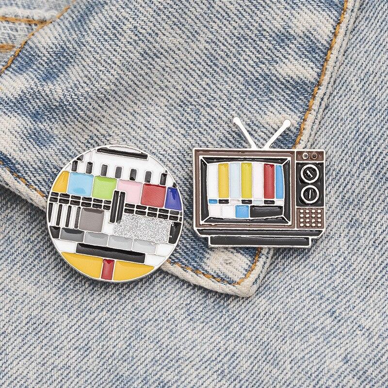 Новый продукт, брошь HelloMiss, креативная Ретро ТВ-канал, без сигнала, значок на воротник, модная брошь, аксессуары для одежды