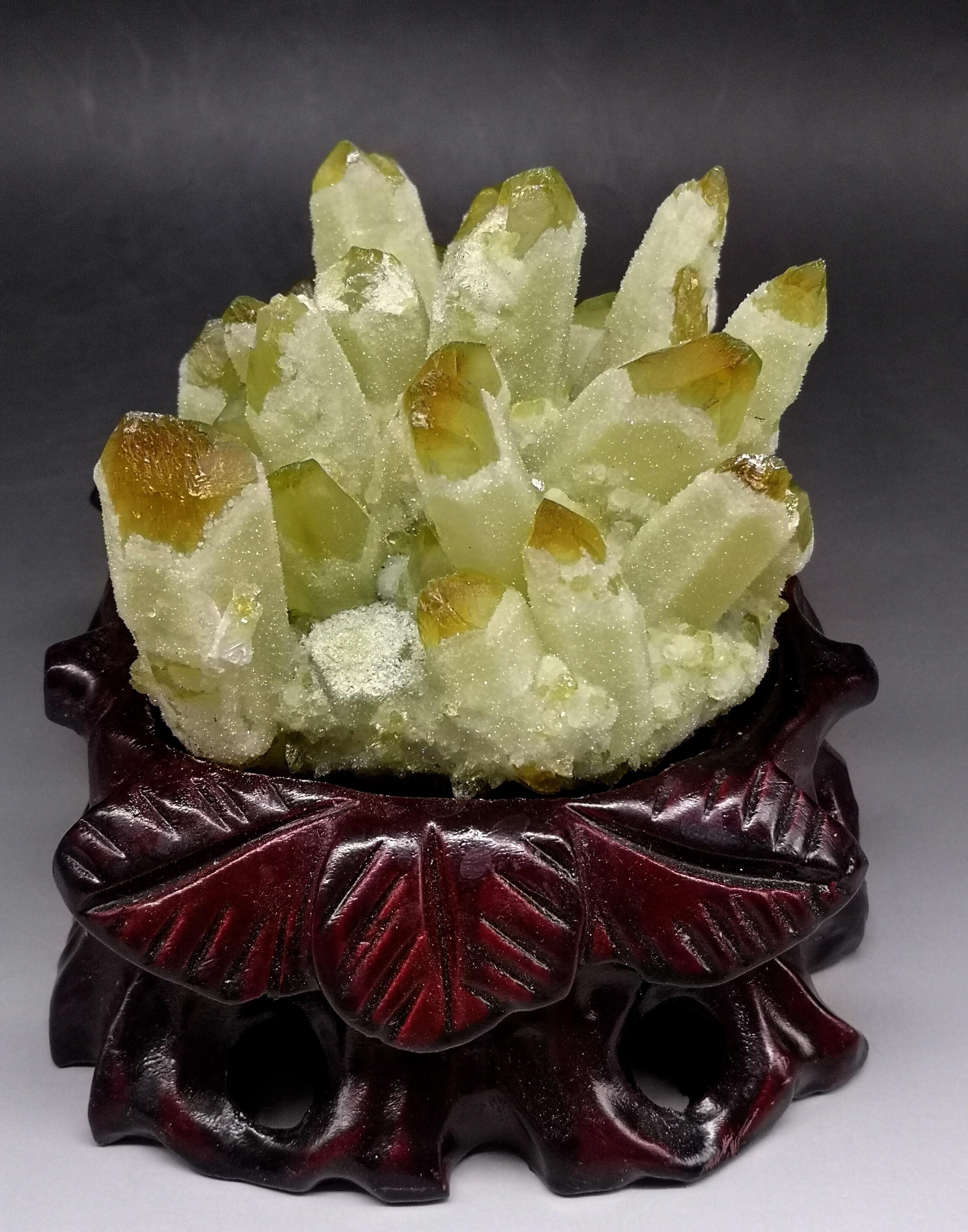 813 グラムナチュラルイエローゴーストファントム水晶クラスタークリスタルや石ヒーリング標本装飾無料ギフト木製ベース  グループ上の ホーム&ガーデン からの 石 の中 1