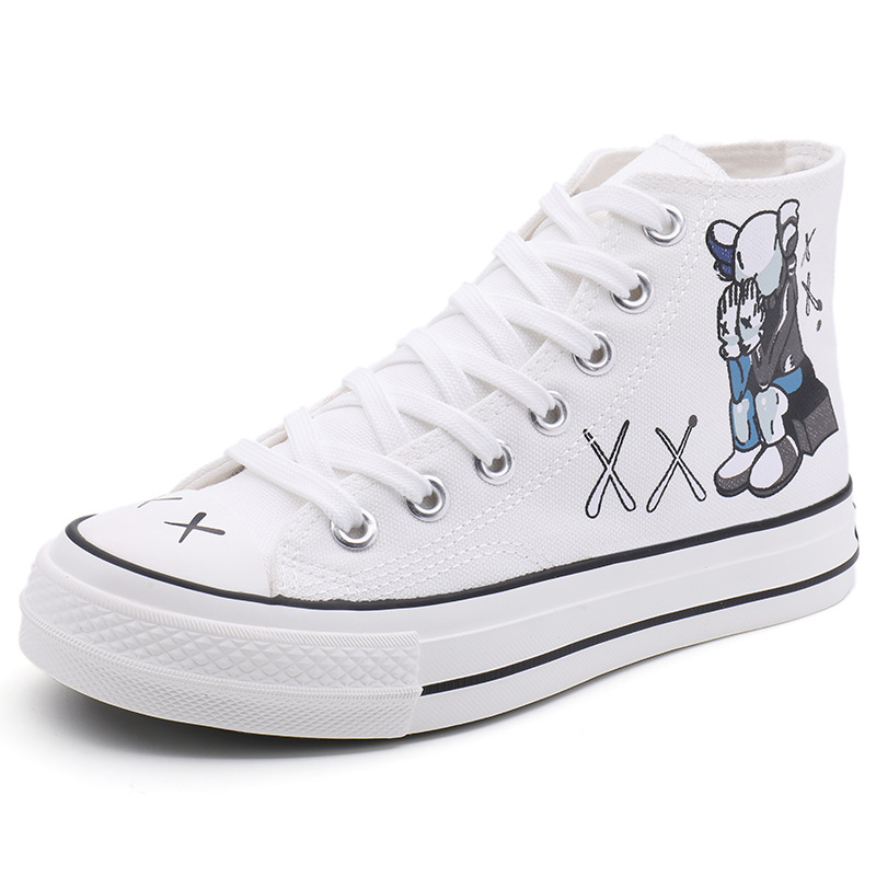 Children High-top Canvas Girls Quality Fabric School Shoes Boys Fashion Cartoon Sneakers Spring Outside Travel Canvas 35-40