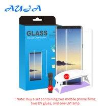 AUJA ekran UV Protector szkło hartowane dla S8/9/10/20 Plus uwaga 20 Ultra 2 sztuk pełna pokrywa przezroczyste szkło z lampą UV