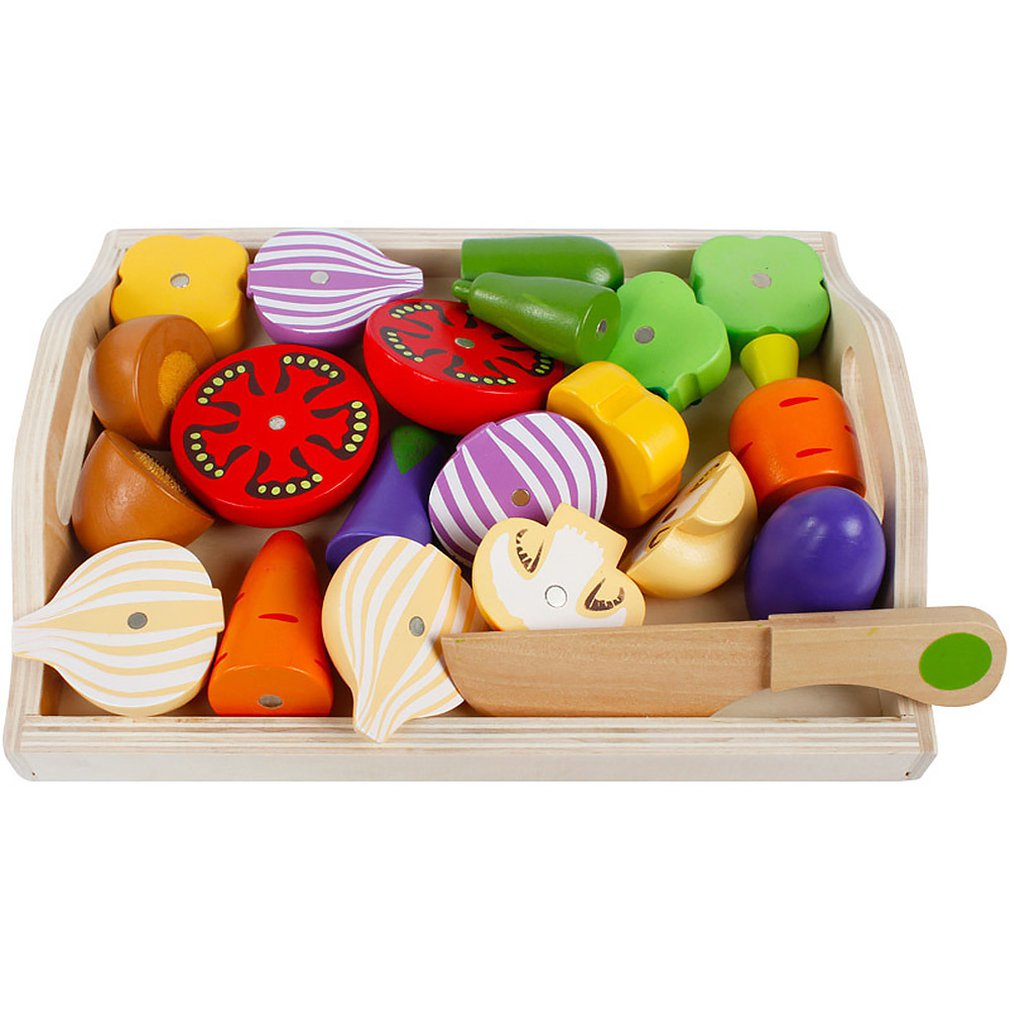Children's Magnetic Cutlery Kitchen Toys Wooden Girl Cuts Fruit And Vegetable Combination Playhouse Set