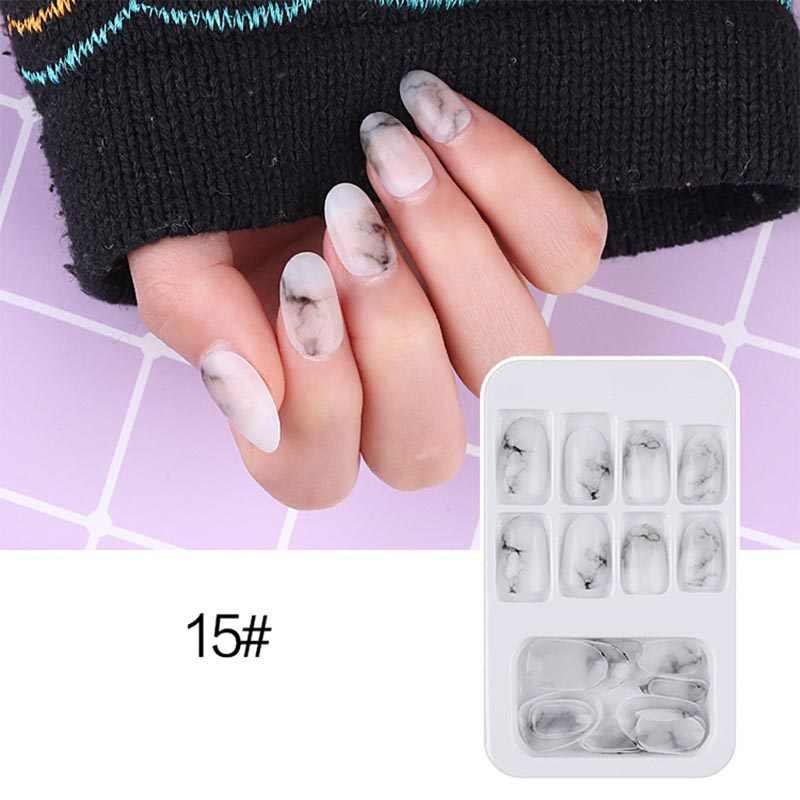 24 pièces porter Nail Art pièce finie détachable faux ongles Net rouge ongle Patch colle fruits gelée Explosion Type givré