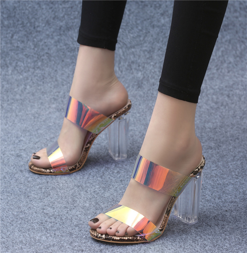 Sandals 2019 Women's Shoes Transparent Coarse heel High Sexy Snake