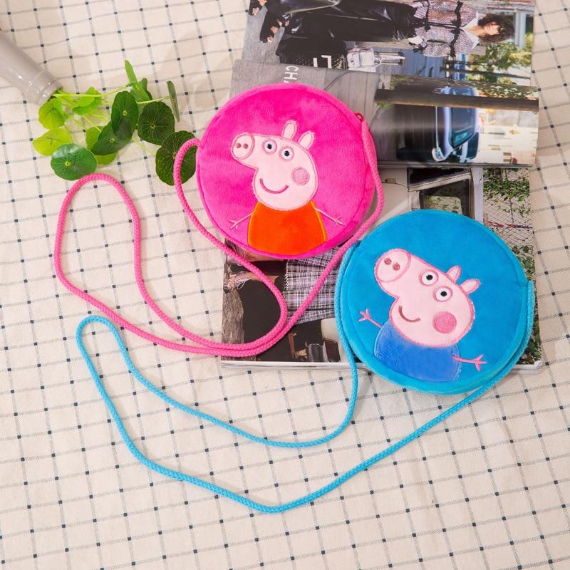 Peppa Pig Girl Shoulder Bag Cartoon Plush Toy Doll Crossbody Messenger Bag Kids School Bag Mini Bag for Children Birthday Gift