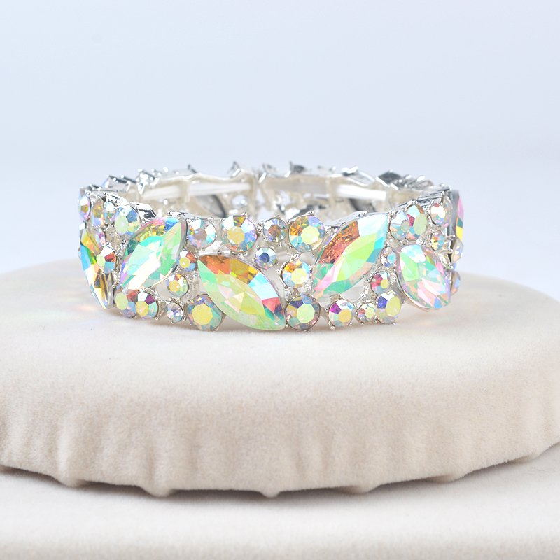 Luxury Silver AB Color Brand Crystal Cuff Bangles Bracelet Big Wide Stretch Bangle Jewelry Gifts for Women wedding Accesorios