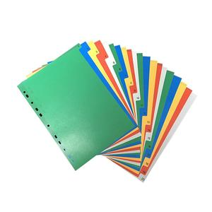 20 Pages A4 Colorful Index Page Classified Lables Plastic Tab Dividers (Color Printed Number)