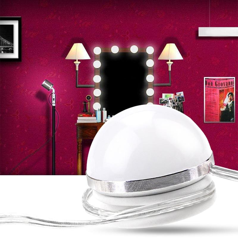 Led Makeup Mirror Light 6 10 14 Bulbs Kit Suction Cup Dressing Table Vanity Light Bulb Bathroom Hollywood Led Dimmer Wall Lamp