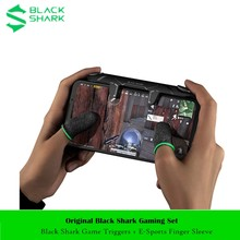 Original preto tubarão jogo gatilhos conjunto adicionar manga dedo manche controlador alça para iphone xiaomi tubarão preto 3/3s/3 pro