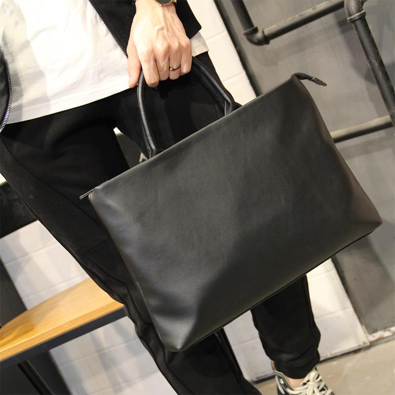 New High Quality Pu Leather Men's Briefcase Fashion Large Capacity Business Handbag Male Single Shoulder Crossbody Bag