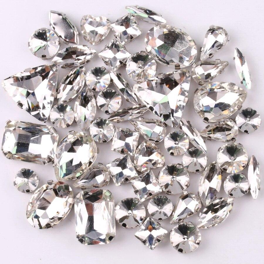 Серебряная закрепка в форме когтя, 50 фотоформ, микс прозрачных стеклянных кристаллов, пришивные стразы, свадебное платье, сумка для обуви, о...