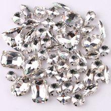 Gümüş pençe ayar 50 adet/torba şekiller mix temizle cam kristal rhinestone düğün elbisesi ayakkabı çantası diy trim