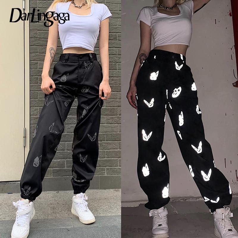 Darlingaga Streetwear Reflective Butterfly Print High Waist Pants Women Fashion Festival Trousers Track Pants New Pantalon Femme