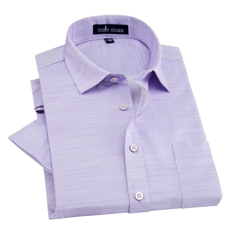 Men's Regular-fit Short Sleeve Linen Cotton Shirts Single Patch Pocket Male Work Office Brief Thin Plaid Print Casual Shirt