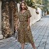 Fashion Polka Dot Print Dress Women High Waist Sashes A Line Summer Dress Short Sleeve Single-Breasted Bohemian Midi Dresses 3