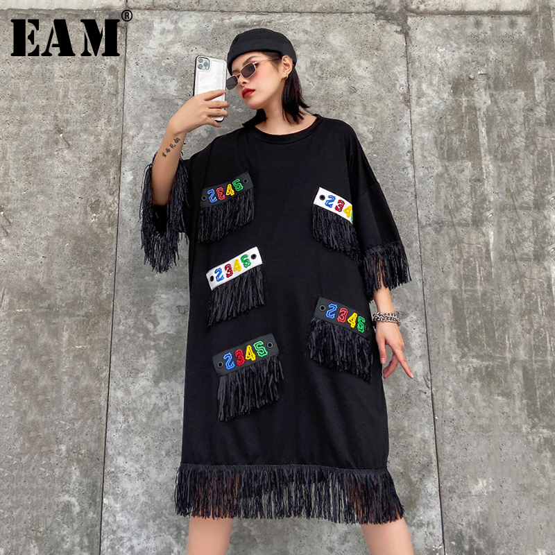 [EAM] Women Tassels Split Big Size Dress New Round Neck Three Quarter Sleeve Loose Fit Fashion Tide Spring Autumn 2020 1R449