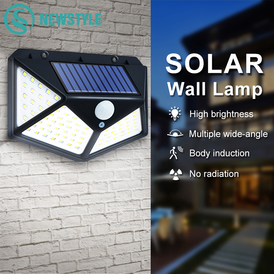 Four-Side LED Outdoor Solar Lights Motion Sensor Night Lamps With 3 Modes Super Bright Security Lights For Backyard Wall