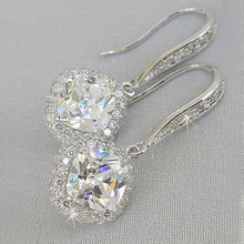 Luxo na moda prata cor quadrada gota brinco casamento nupcial acessórios brilho zircão pedra elegante jóias femininas