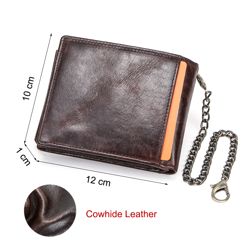 Image 3 - CONTACTS 100% Genuine Leather Men Wallet Short Coin Purse Anti  theft Chain Design ID Card Holder Pocket Male Wallets CarteiraWallets