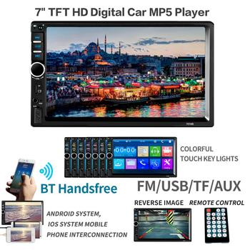 2 din Car Multimedia Player GPS Navigation with Map 7 inch HD Touch Screen Bluetooth Radio MP3 MP5 7018G Radios(Europe) image