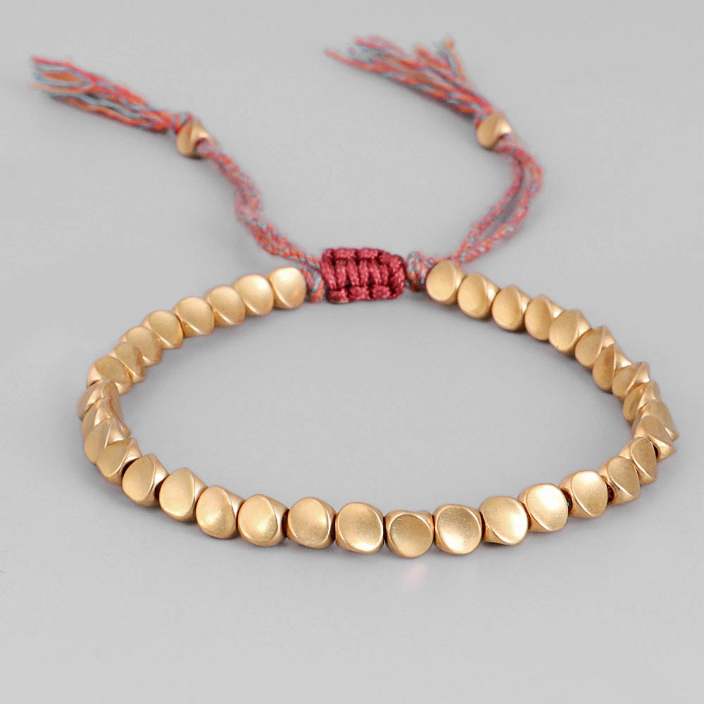 Handmade Tibetan Copper Bead Bracelet Set Buddhist Beaded Braided Lucky Adjustable Rope Chain Metal for Women Men Couple Jewelry