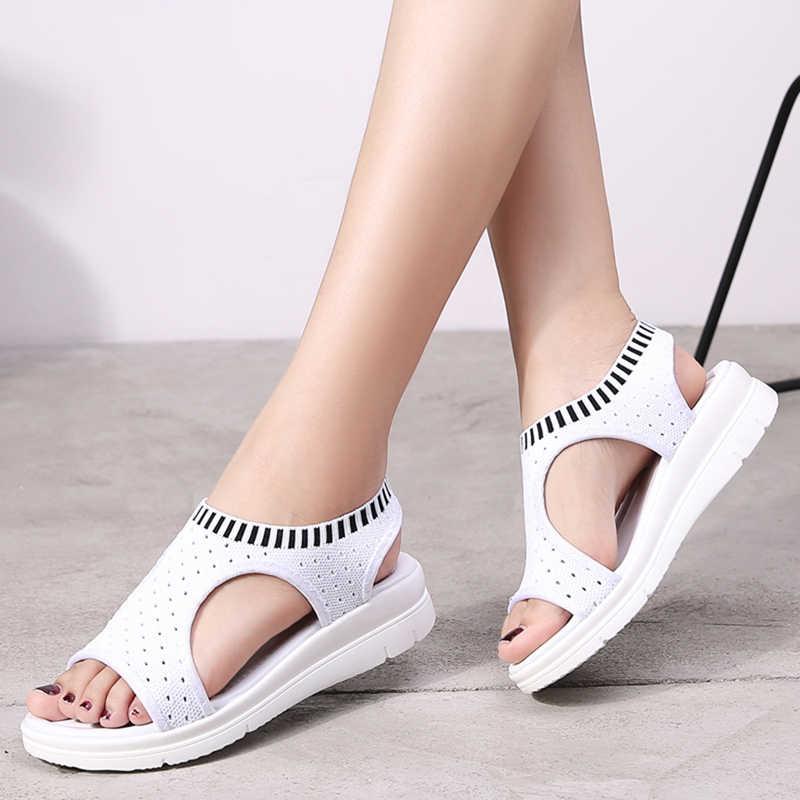 2020 Phụ nữ Dép Sandal Thời Trang Thoáng Khí Thoải Mái Mua Sắm Giày Sandal Nữ Mùa Hè Giày Wedge Đen Trắng Giày Sandal
