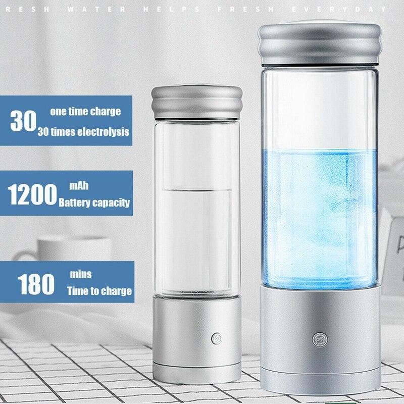 Augienb 350ml garrafa de água rica em hidrogênio gerador de ionizador alcalino saudável anti-envelhecimento usb recarregável led luz