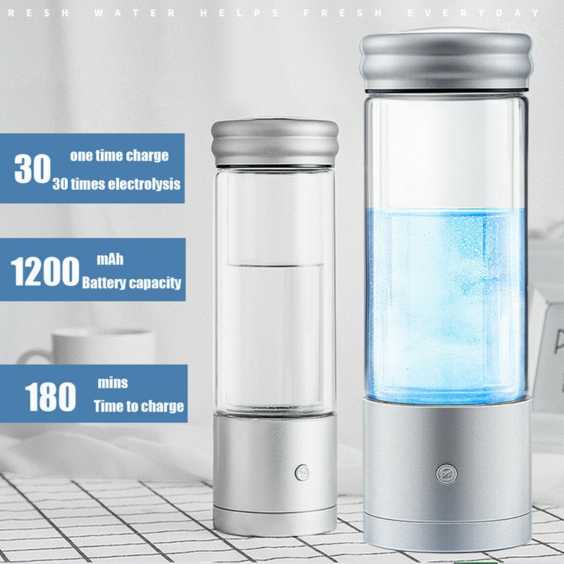 AUGIENB 350ml Hydrogen Rich Water Bottle Alkaline Ionizer Generator Healthy Anti-Aging USB  Rechargeable LED Light