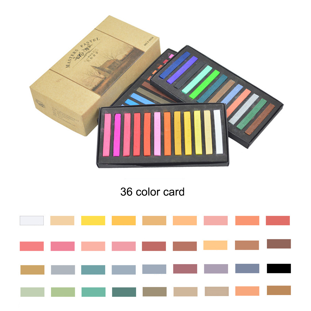 Students Painting Crayons Soft Pastel 12/24/36/48 Colors/Set Art Drawing Set Chalk Color Crayon Brush Stationery For Students