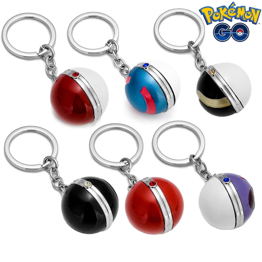 2020 Trendy Game Pikachu Keychain Pokeball Ball Bag Key Rings Team Pokemon Kids Cosplay Toys Christmas New Year Gifts Chaveiro