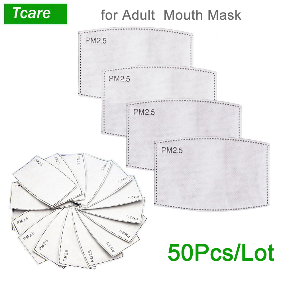 Tcare 50pcs/Lot PM2.5 Filter Paper Anti Haze Mouth Mask Anti Dust Mask Activated Carbon Filter Paper Health Care