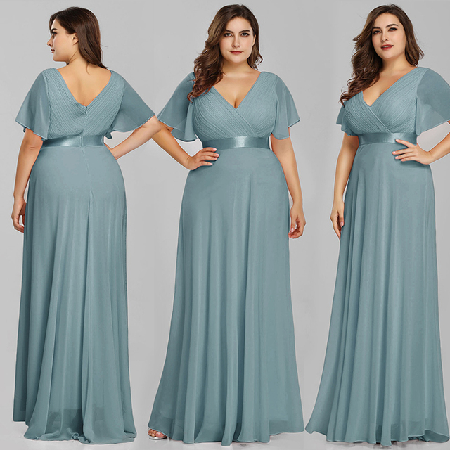 Plus Size Pink Prom Dresses Long Ever Pretty V-Neck Chiffon A-line Robe De Soiree 2020 Navy Blue Formal Party Gowns for Women 4