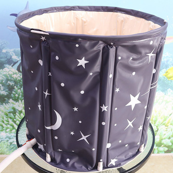 Home Bath Barrel Thickening PVC Foldable Large Adult Bath Barrel Thickening Children Folding Bucket Inflatable Small Apartment фото