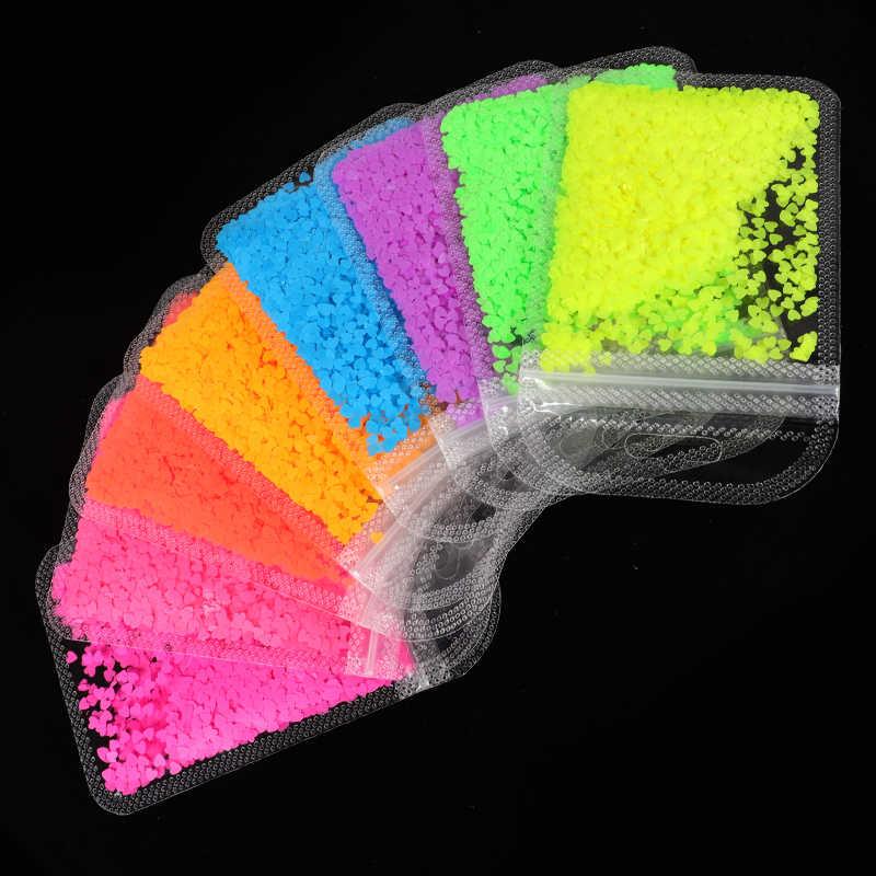 เรืองแสงผีเสื้อรูปร่างหัวใจรูปร่างเล็บArt Glitter Flakes 3D Neon Sequinsทำเล็บมือตกแต่งเล็บ