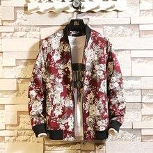 2020 New Floral Men Jacket Japanese Street Windbreaker Bomber Jacket