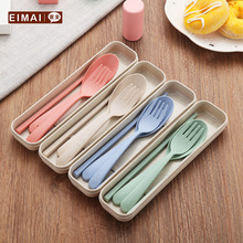 3 In 1 Wheat Straw Environmentally Friendly and Non-toxic Portable Reusable Spoon Fork Chopstick Set with Organizer Box 1 pc fangcan tpe single layer standard yoga mat skin friendly non toxic and environmentally friendly
