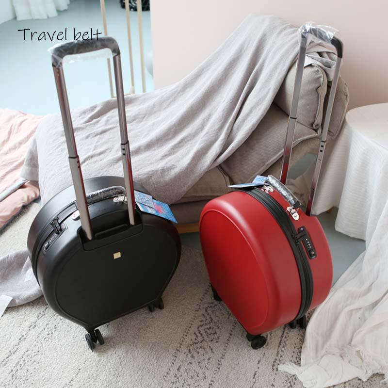 Mode Vrouwen Ronde Rolling Bagage Spinner 20 inch Hoge capaciteit Wachtwoord Cabine Koffer Wielen Reistassen