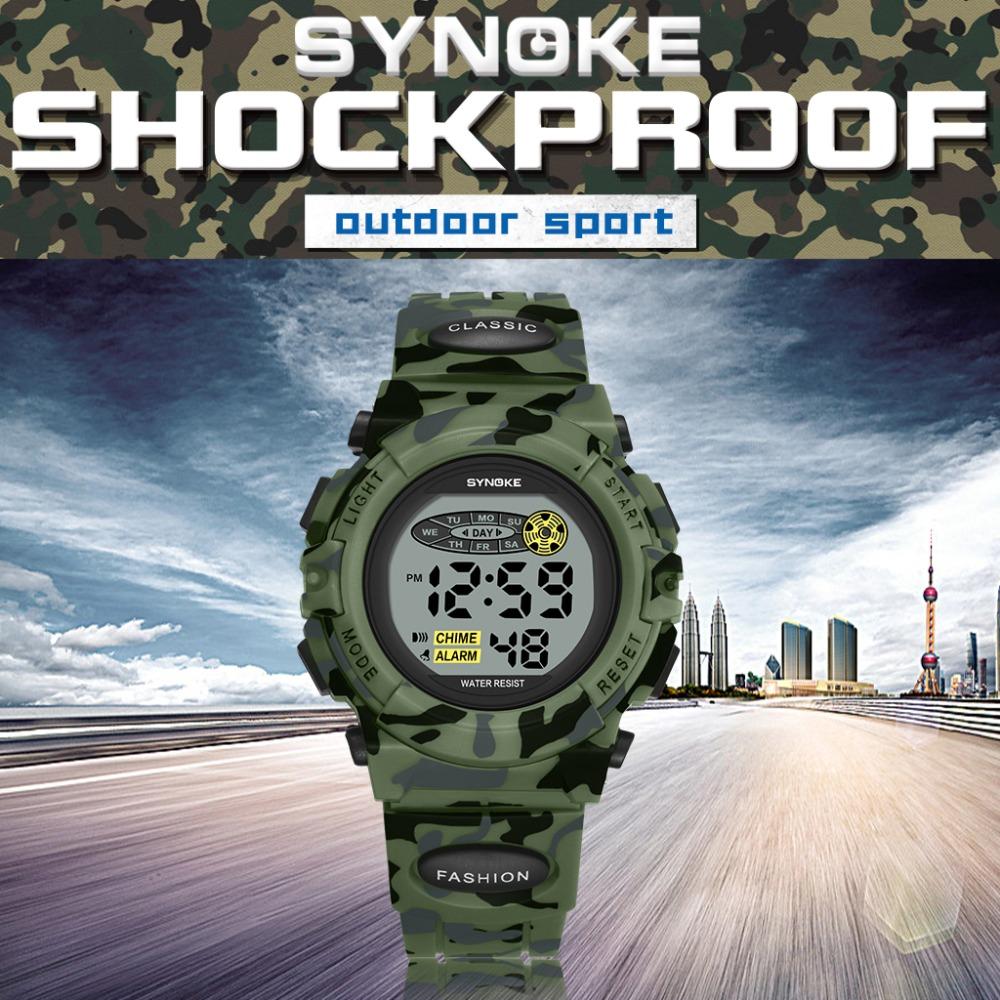 Synoke военные спортивные детские цифровые наручные часы камуфляжные