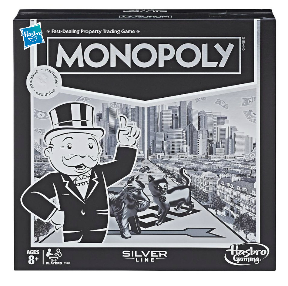 Hasbro Monopoly Silver Line English silver version Games and Puzzles Monopoly Silver Line Edition Alpinia Party Game toys