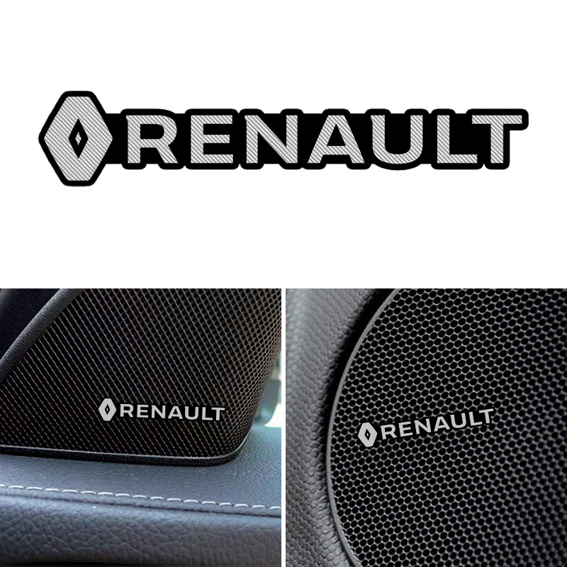 3D Auto Styling Sticker Aluminium Embleem Interieur Speaker Audio Badge Voor Renault Koleos Stofdoek Megane 2 Logan Renault Clio Captur