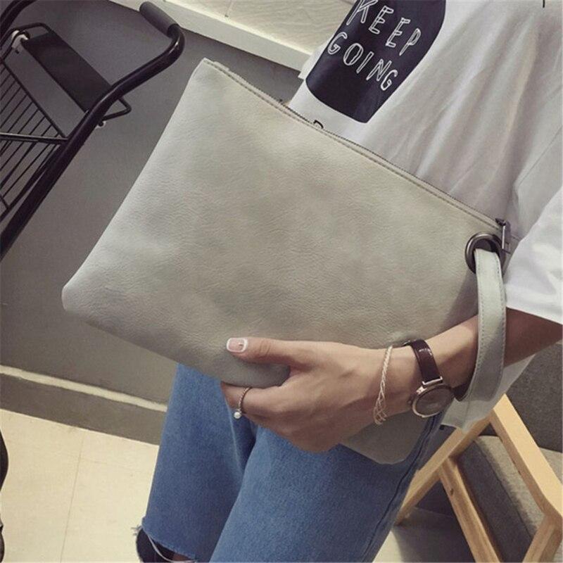 Clutch Bag Evening Envelope Handbag Fashion Solid Leather Women Female Pu Chain Strap Polyester Zipper Immediately Shipping