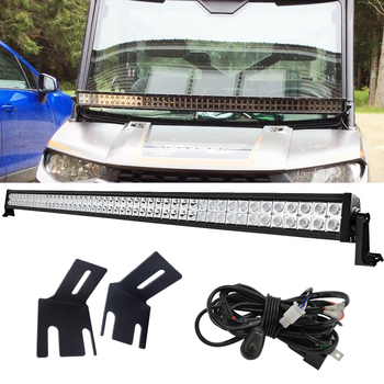 For Polaris Ranger 1000 900 regular crew XP and 570 50 inches 288W Straight LED Light Bar with Wiring Kit and A-Pillar Brackets