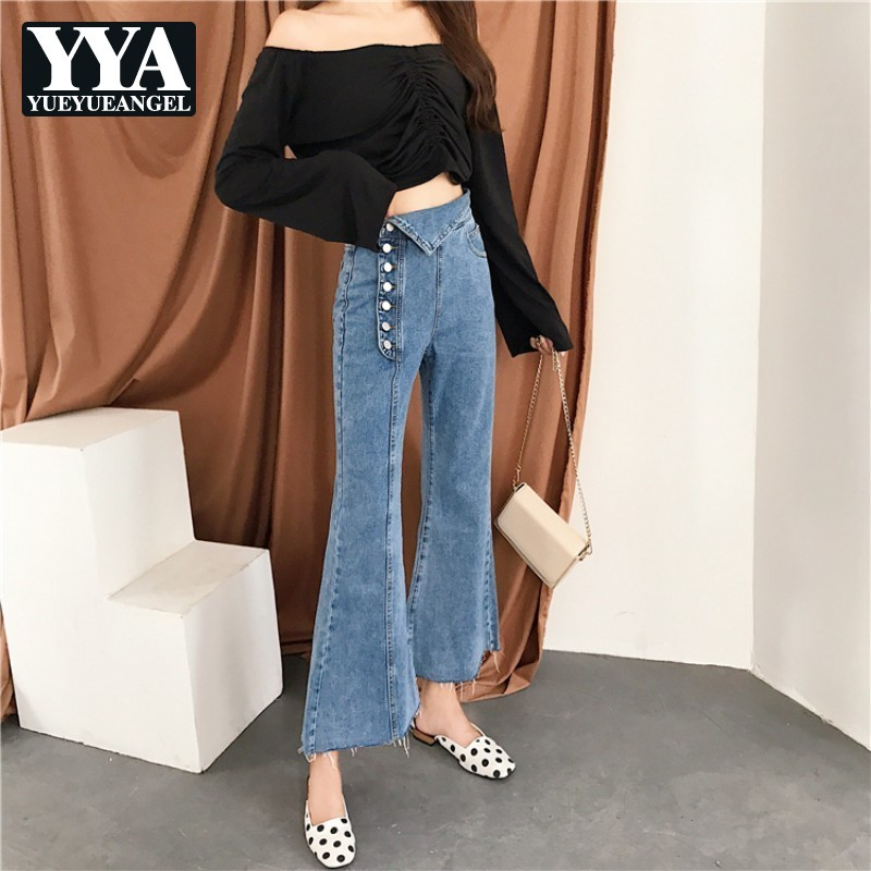 2020 Autumn New Single Breasted Button Wide Leg Pants Womens Jeans Washed High Waist Denim Slim Fit Denim Flare Trousers Jeans