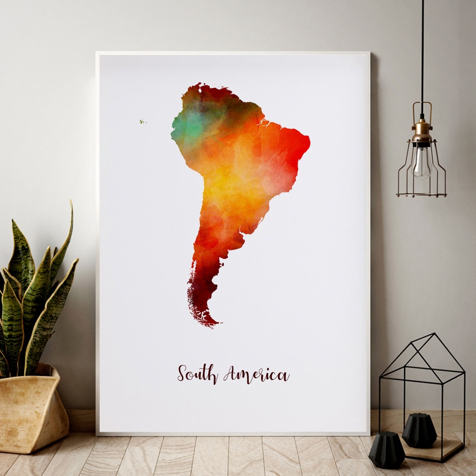 South America map watercolor Map Modern City Canvas Art Print Wall Pictures for Living Room No Frame image