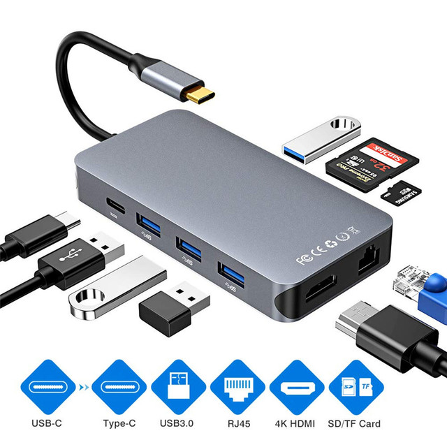 Thunderbolt 3 Type C Converter USB C hdmi 4K 30hz USB3.0 hub Micro SD/TF Card Reader RJ45 1000mbps with PD charging Adapter