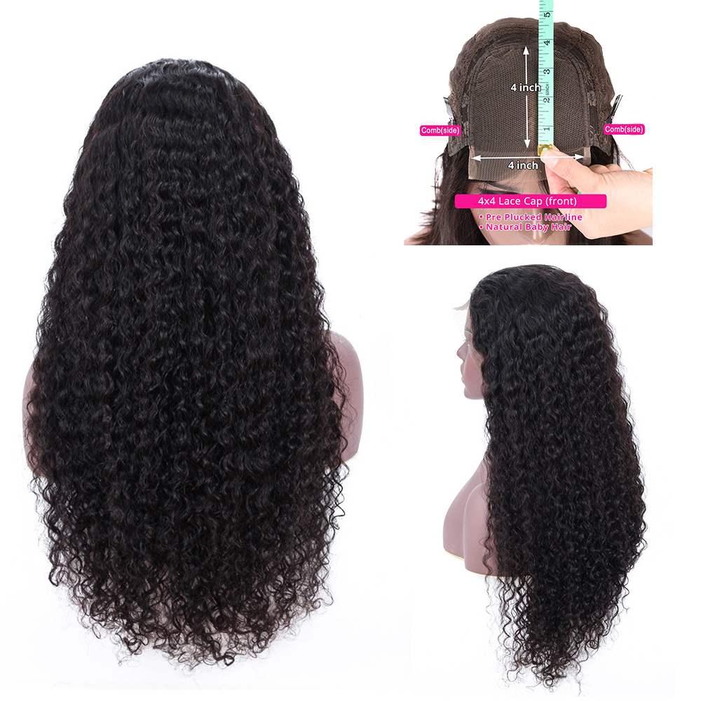 Malaysian Kinky Curly Hair 4*4 Lace Closure Human Hair Wig  For Black Women Remy Hair Pre Plucked Natural Hairline